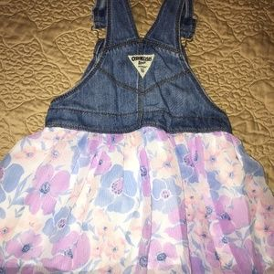 Toddler girls Denim and chiffon overall skirt